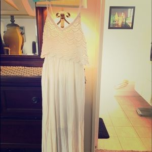 White maxi with lace halter